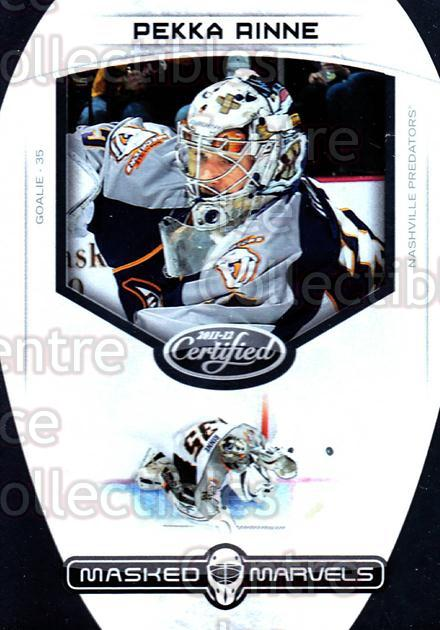 2011-12 Certified Masked Marvels #7 Pekka Rinne<br/>1 In Stock - $3.00 each - <a href=https://centericecollectibles.foxycart.com/cart?name=2011-12%20Certified%20Masked%20Marvels%20%237%20Pekka%20Rinne...&quantity_max=1&price=$3.00&code=619850 class=foxycart> Buy it now! </a>