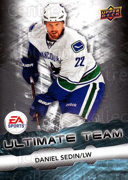 2011-12 Upper Deck EA Ultimate Team #3 Daniel Sedin<br/>1 In Stock - $3.00 each - <a href=https://centericecollectibles.foxycart.com/cart?name=2011-12%20Upper%20Deck%20EA%20Ultimate%20Team%20%233%20Daniel%20Sedin...&price=$3.00&code=619866 class=foxycart> Buy it now! </a>