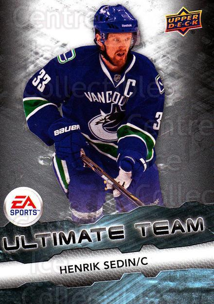 2011-12 Upper Deck EA Ultimate Team #4 Henrik Sedin<br/>3 In Stock - $3.00 each - <a href=https://centericecollectibles.foxycart.com/cart?name=2011-12%20Upper%20Deck%20EA%20Ultimate%20Team%20%234%20Henrik%20Sedin...&quantity_max=3&price=$3.00&code=619867 class=foxycart> Buy it now! </a>