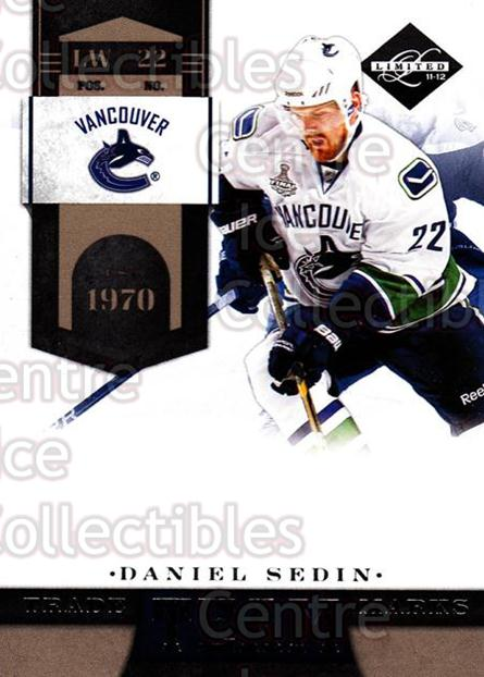 2011-12 Limited Team Trademarks #5 Daniel Sedin<br/>1 In Stock - $3.00 each - <a href=https://centericecollectibles.foxycart.com/cart?name=2011-12%20Limited%20Team%20Trademarks%20%235%20Daniel%20Sedin...&price=$3.00&code=619913 class=foxycart> Buy it now! </a>
