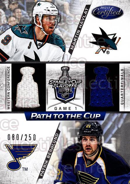 2012-13 Certified Path to the Cup Quarter Finals Jersey #6 Martin Havlat, Patrik Berglund<br/>1 In Stock - $5.00 each - <a href=https://centericecollectibles.foxycart.com/cart?name=2012-13%20Certified%20Path%20to%20the%20Cup%20Quarter%20Finals%20Jersey%20%236%20Martin%20Havlat,%20...&quantity_max=1&price=$5.00&code=622273 class=foxycart> Buy it now! </a>