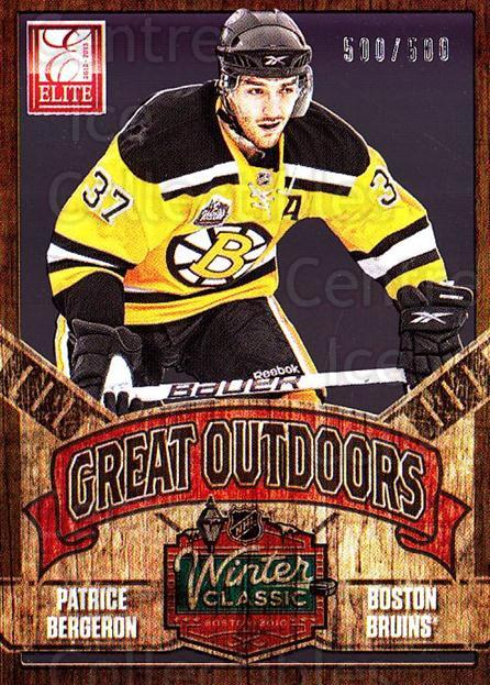 2012-13 Elite The Great Outdoors #14 Patrice Bergeron<br/>2 In Stock - $5.00 each - <a href=https://centericecollectibles.foxycart.com/cart?name=2012-13%20Elite%20The%20Great%20Outdoors%20%2314%20Patrice%20Bergero...&quantity_max=2&price=$5.00&code=628311 class=foxycart> Buy it now! </a>