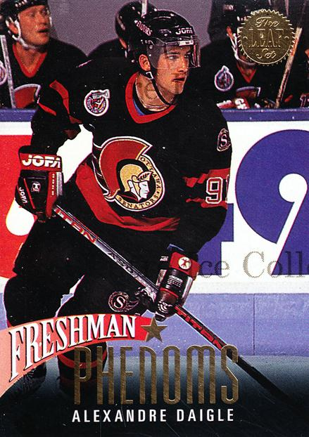 1993-94 Leaf Freshman Phenoms #1 Alexandre Daigle<br/>9 In Stock - $2.00 each - <a href=https://centericecollectibles.foxycart.com/cart?name=1993-94%20Leaf%20Freshman%20Phenoms%20%231%20Alexandre%20Daigl...&quantity_max=9&price=$2.00&code=6283 class=foxycart> Buy it now! </a>