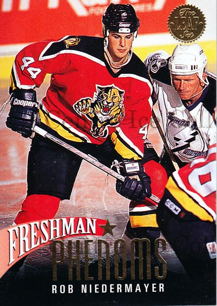 1993-94 Leaf Freshman Phenoms #6 Rob Niedermayer<br/>9 In Stock - $2.00 each - <a href=https://centericecollectibles.foxycart.com/cart?name=1993-94%20Leaf%20Freshman%20Phenoms%20%236%20Rob%20Niedermayer...&quantity_max=9&price=$2.00&code=6286 class=foxycart> Buy it now! </a>