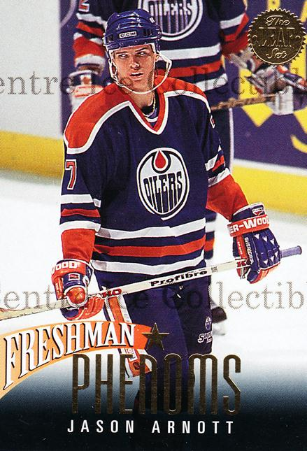 1993-94 Leaf Freshman Phenoms #7 Jason Arnott<br/>11 In Stock - $2.00 each - <a href=https://centericecollectibles.foxycart.com/cart?name=1993-94%20Leaf%20Freshman%20Phenoms%20%237%20Jason%20Arnott...&quantity_max=11&price=$2.00&code=6287 class=foxycart> Buy it now! </a>