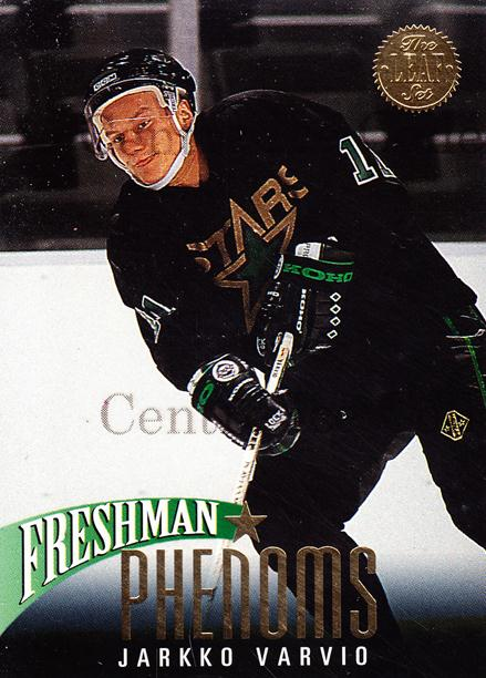 1993-94 Leaf Freshman Phenoms #8 Jarkko Varvio<br/>12 In Stock - $2.00 each - <a href=https://centericecollectibles.foxycart.com/cart?name=1993-94%20Leaf%20Freshman%20Phenoms%20%238%20Jarkko%20Varvio...&quantity_max=12&price=$2.00&code=6288 class=foxycart> Buy it now! </a>