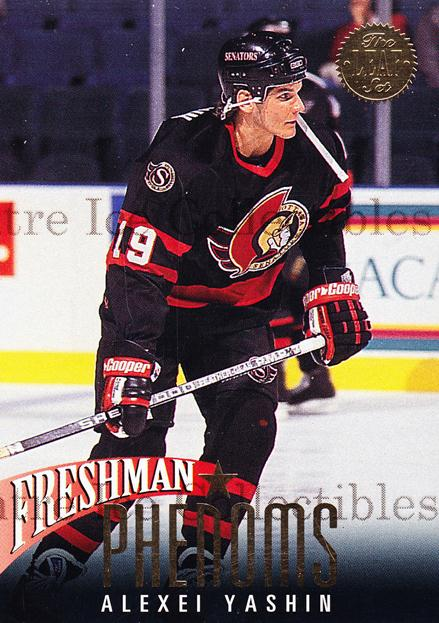 1993-94 Leaf Freshman Phenoms #9 Alexei Yashin<br/>13 In Stock - $3.00 each - <a href=https://centericecollectibles.foxycart.com/cart?name=1993-94%20Leaf%20Freshman%20Phenoms%20%239%20Alexei%20Yashin...&quantity_max=13&price=$3.00&code=6289 class=foxycart> Buy it now! </a>