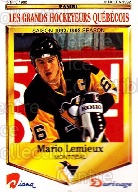 1992-93 Durivage Panini #8 Mario Lemieux<br/>1 In Stock - $5.00 each - <a href=https://centericecollectibles.foxycart.com/cart?name=1992-93%20Durivage%20Panini%20%238%20Mario%20Lemieux...&price=$5.00&code=629832 class=foxycart> Buy it now! </a>