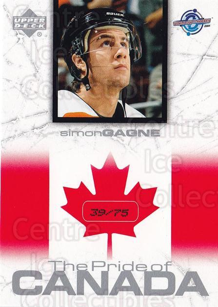 2004 UD Toronto Fall Expo Pride of Canada #14 Simon Gagne<br/>1 In Stock - $10.00 each - <a href=https://centericecollectibles.foxycart.com/cart?name=2004%20UD%20Toronto%20Fall%20Expo%20Pride%20of%20Canada%20%2314%20Simon%20Gagne...&quantity_max=1&price=$10.00&code=629987 class=foxycart> Buy it now! </a>