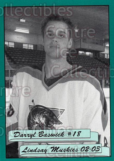 2002-03 Lindsay Muskies #2 Darryl Baswick<br/>1 In Stock - $3.00 each - <a href=https://centericecollectibles.foxycart.com/cart?name=2002-03%20Lindsay%20Muskies%20%232%20Darryl%20Baswick...&price=$3.00&code=630247 class=foxycart> Buy it now! </a>