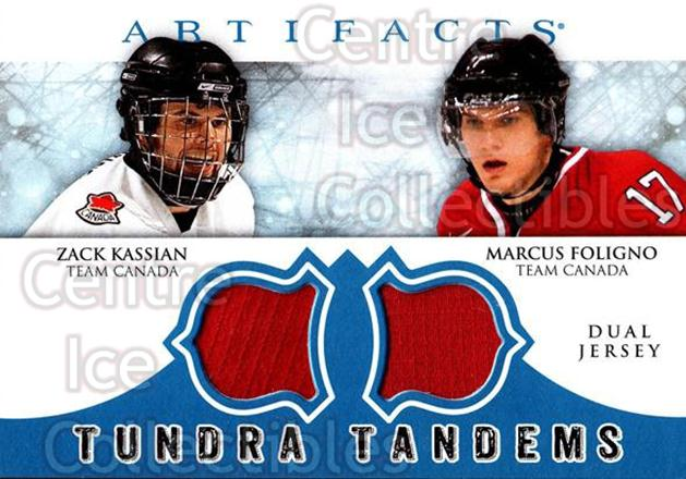 2012-13 UD Artifacts Tundra Tandems Jersey Blue #TTFK Zack Kassian, Marcus Foligno<br/>1 In Stock - $5.00 each - <a href=https://centericecollectibles.foxycart.com/cart?name=2012-13%20UD%20Artifacts%20Tundra%20Tandems%20Jersey%20Blue%20%23TTFK%20Zack%20Kassian,%20M...&quantity_max=1&price=$5.00&code=630398 class=foxycart> Buy it now! </a>