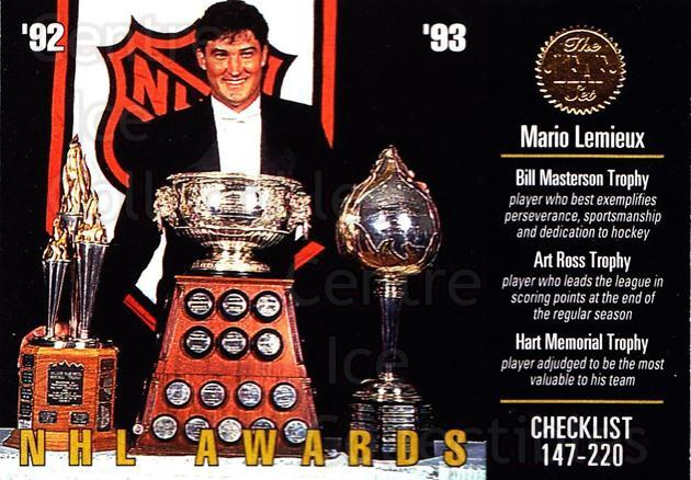 1993-94 Leaf #210 Mario Lemieux, Checklist<br/>3 In Stock - $2.00 each - <a href=https://centericecollectibles.foxycart.com/cart?name=1993-94%20Leaf%20%23210%20Mario%20Lemieux,%20...&price=$2.00&code=6307 class=foxycart> Buy it now! </a>