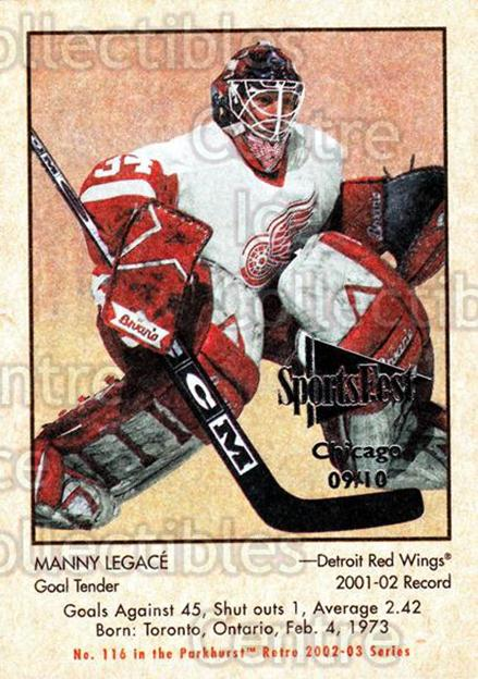 2002-03 Parkhurst Retro Sportsfest #116 Manny Legace<br/>1 In Stock - $5.00 each - <a href=https://centericecollectibles.foxycart.com/cart?name=2002-03%20Parkhurst%20Retro%20Sportsfest%20%23116%20Manny%20Legace...&quantity_max=1&price=$5.00&code=631749 class=foxycart> Buy it now! </a>