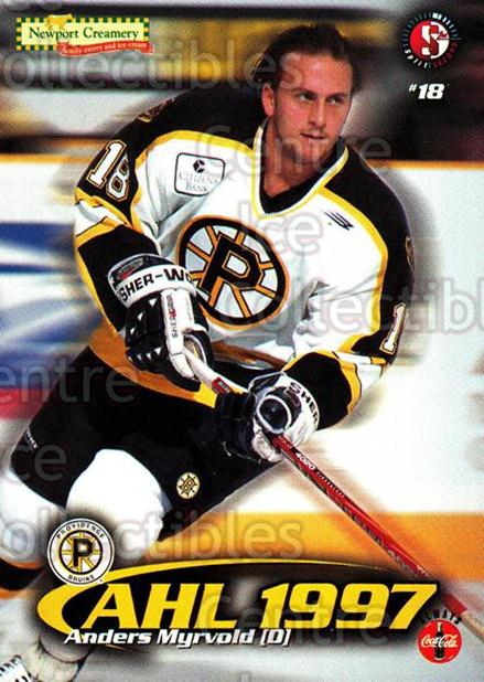 1997-98 Providence Bruins #10 Anders Myrvold<br/>6 In Stock - $3.00 each - <a href=https://centericecollectibles.foxycart.com/cart?name=1997-98%20Providence%20Bruins%20%2310%20Anders%20Myrvold...&price=$3.00&code=63246 class=foxycart> Buy it now! </a>