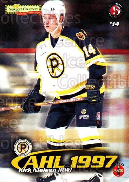 1997-98 Providence Bruins #12 Kirk Nielsen<br/>6 In Stock - $3.00 each - <a href=https://centericecollectibles.foxycart.com/cart?name=1997-98%20Providence%20Bruins%20%2312%20Kirk%20Nielsen...&price=$3.00&code=63248 class=foxycart> Buy it now! </a>