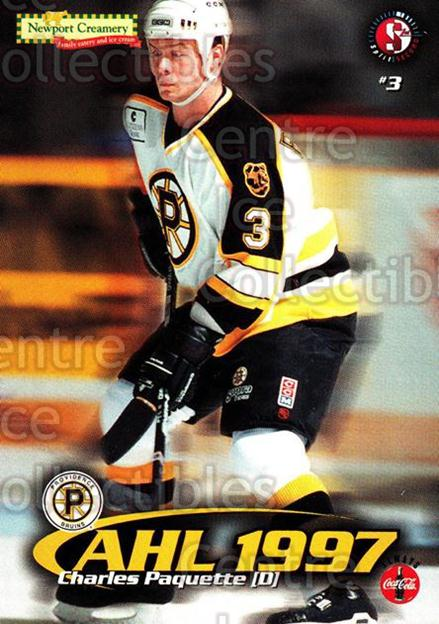1997-98 Providence Bruins #13 Charles Paquette<br/>12 In Stock - $3.00 each - <a href=https://centericecollectibles.foxycart.com/cart?name=1997-98%20Providence%20Bruins%20%2313%20Charles%20Paquett...&price=$3.00&code=63249 class=foxycart> Buy it now! </a>