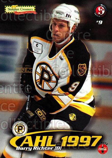 1997-98 Providence Bruins #15 Barry Richter<br/>9 In Stock - $3.00 each - <a href=https://centericecollectibles.foxycart.com/cart?name=1997-98%20Providence%20Bruins%20%2315%20Barry%20Richter...&price=$3.00&code=63250 class=foxycart> Buy it now! </a>