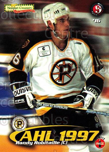 1997-98 Providence Bruins #16 Randy Robitaille<br/>11 In Stock - $3.00 each - <a href=https://centericecollectibles.foxycart.com/cart?name=1997-98%20Providence%20Bruins%20%2316%20Randy%20Robitaill...&price=$3.00&code=63251 class=foxycart> Buy it now! </a>