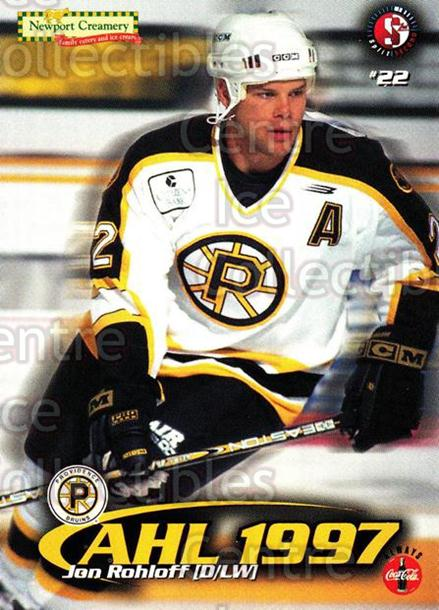 1997-98 Providence Bruins #17 Jon Rohloff<br/>9 In Stock - $3.00 each - <a href=https://centericecollectibles.foxycart.com/cart?name=1997-98%20Providence%20Bruins%20%2317%20Jon%20Rohloff...&price=$3.00&code=63252 class=foxycart> Buy it now! </a>