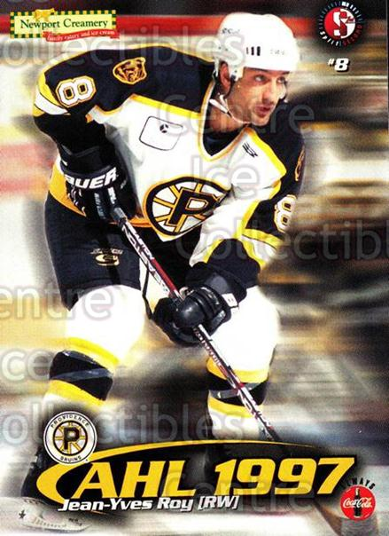 1997-98 Providence Bruins #19 Jean-Yves Roy<br/>10 In Stock - $3.00 each - <a href=https://centericecollectibles.foxycart.com/cart?name=1997-98%20Providence%20Bruins%20%2319%20Jean-Yves%20Roy...&price=$3.00&code=63254 class=foxycart> Buy it now! </a>