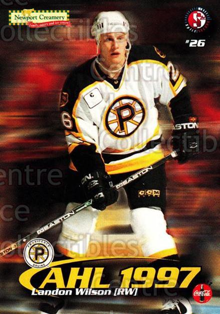 1997-98 Providence Bruins #21 Landon Wilson<br/>12 In Stock - $3.00 each - <a href=https://centericecollectibles.foxycart.com/cart?name=1997-98%20Providence%20Bruins%20%2321%20Landon%20Wilson...&price=$3.00&code=63256 class=foxycart> Buy it now! </a>