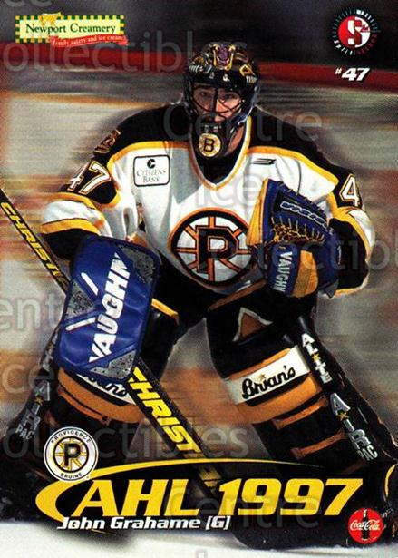 1997-98 Providence Bruins #7 John Grahame<br/>6 In Stock - $3.00 each - <a href=https://centericecollectibles.foxycart.com/cart?name=1997-98%20Providence%20Bruins%20%237%20John%20Grahame...&price=$3.00&code=63261 class=foxycart> Buy it now! </a>