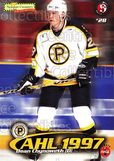 1997-98 Providence Bruins #4 Dean Chynoweth<br/>10 In Stock - $3.00 each - <a href=https://centericecollectibles.foxycart.com/cart?name=1997-98%20Providence%20Bruins%20%234%20Dean%20Chynoweth...&price=$3.00&code=63263 class=foxycart> Buy it now! </a>