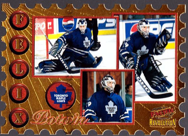 1997-98 Revolution Return to Sender Die-Cuts #19 Felix Potvin<br/>1 In Stock - $5.00 each - <a href=https://centericecollectibles.foxycart.com/cart?name=1997-98%20Revolution%20Return%20to%20Sender%20Die-Cuts%20%2319%20Felix%20Potvin...&quantity_max=1&price=$5.00&code=63565 class=foxycart> Buy it now! </a>