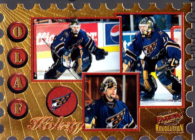 1997-98 Revolution Return to Sender Die-Cuts #20 Olaf Kolzig<br/>2 In Stock - $3.00 each - <a href=https://centericecollectibles.foxycart.com/cart?name=1997-98%20Revolution%20Return%20to%20Sender%20Die-Cuts%20%2320%20Olaf%20Kolzig...&quantity_max=2&price=$3.00&code=63567 class=foxycart> Buy it now! </a>