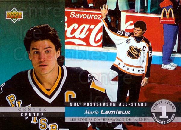 1993-94 McDonalds Upper Deck Hologram #1 Mario Lemieux<br/>15 In Stock - $5.00 each - <a href=https://centericecollectibles.foxycart.com/cart?name=1993-94%20McDonalds%20Upper%20Deck%20Hologram%20%231%20Mario%20Lemieux...&quantity_max=15&price=$5.00&code=6389 class=foxycart> Buy it now! </a>