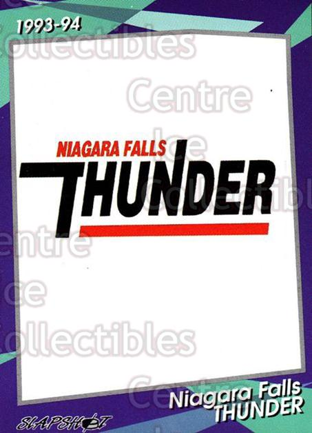 1993-94 Niagara Falls Thunder #1 Header Card, Checklist<br/>4 In Stock - $3.00 each - <a href=https://centericecollectibles.foxycart.com/cart?name=1993-94%20Niagara%20Falls%20Thunder%20%231%20Header%20Card,%20Ch...&quantity_max=4&price=$3.00&code=6394 class=foxycart> Buy it now! </a>
