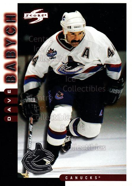 1997-98 Score Vancouver Canucks #20 Dave Babych<br/>10 In Stock - $2.00 each - <a href=https://centericecollectibles.foxycart.com/cart?name=1997-98%20Score%20Vancouver%20Canucks%20%2320%20Dave%20Babych...&quantity_max=10&price=$2.00&code=63971 class=foxycart> Buy it now! </a>