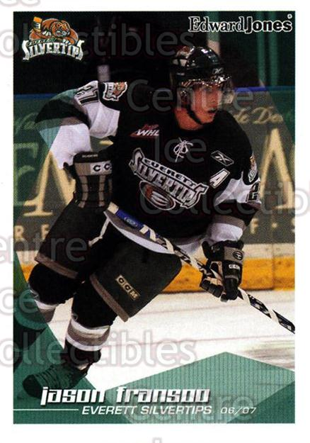 2006-07 Everett Silvertips #10 Jason Fransoo<br/>3 In Stock - $3.00 each - <a href=https://centericecollectibles.foxycart.com/cart?name=2006-07%20Everett%20Silvertips%20%2310%20Jason%20Fransoo...&quantity_max=3&price=$3.00&code=640996 class=foxycart> Buy it now! </a>