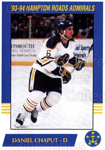 1993-94 Hampton Roads Admirals #3 Daniel Chaput<br/>3 In Stock - $3.00 each - <a href=https://centericecollectibles.foxycart.com/cart?name=1993-94%20Hampton%20Roads%20Admirals%20%233%20Daniel%20Chaput...&quantity_max=3&price=$3.00&code=641036 class=foxycart> Buy it now! </a>