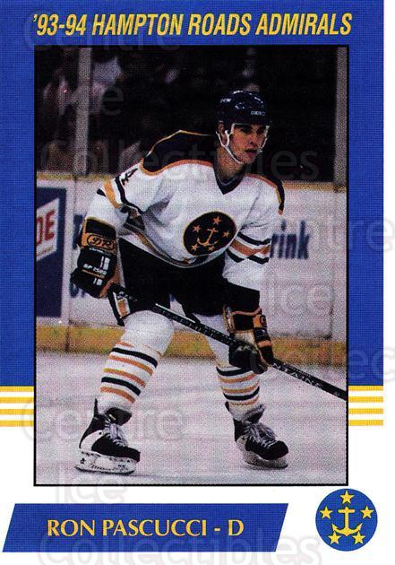 1993-94 Hampton Roads Admirals #13 Ron Pascucci<br/>3 In Stock - $3.00 each - <a href=https://centericecollectibles.foxycart.com/cart?name=1993-94%20Hampton%20Roads%20Admirals%20%2313%20Ron%20Pascucci...&quantity_max=3&price=$3.00&code=641046 class=foxycart> Buy it now! </a>