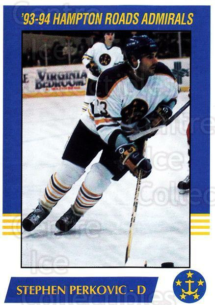 1993-94 Hampton Roads Admirals #15 Steven Perkovic<br/>2 In Stock - $3.00 each - <a href=https://centericecollectibles.foxycart.com/cart?name=1993-94%20Hampton%20Roads%20Admirals%20%2315%20Steven%20Perkovic...&quantity_max=2&price=$3.00&code=641048 class=foxycart> Buy it now! </a>