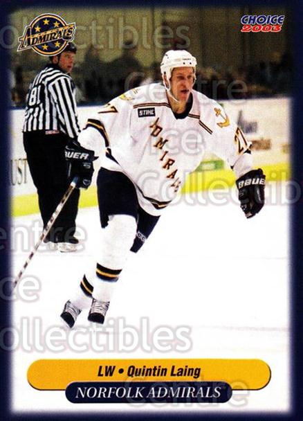 2002-03 Norfolk Admirals #13 Quintin Laing<br/>4 In Stock - $3.00 each - <a href=https://centericecollectibles.foxycart.com/cart?name=2002-03%20Norfolk%20Admirals%20%2313%20Quintin%20Laing...&price=$3.00&code=641245 class=foxycart> Buy it now! </a>