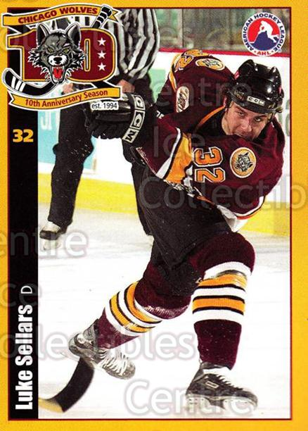 2003-04 Chicago Wolves #18 Luke Sellars<br/>2 In Stock - $3.00 each - <a href=https://centericecollectibles.foxycart.com/cart?name=2003-04%20Chicago%20Wolves%20%2318%20Luke%20Sellars...&quantity_max=2&price=$3.00&code=642764 class=foxycart> Buy it now! </a>