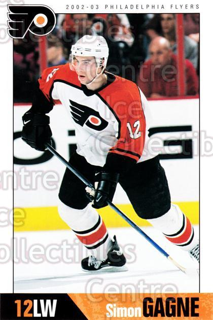 2002-03 Philadelphia Flyers Postcards #5 Simon Gagne<br/>3 In Stock - $3.00 each - <a href=https://centericecollectibles.foxycart.com/cart?name=2002-03%20Philadelphia%20Flyers%20Postcards%20%235%20Simon%20Gagne...&quantity_max=3&price=$3.00&code=642776 class=foxycart> Buy it now! </a>
