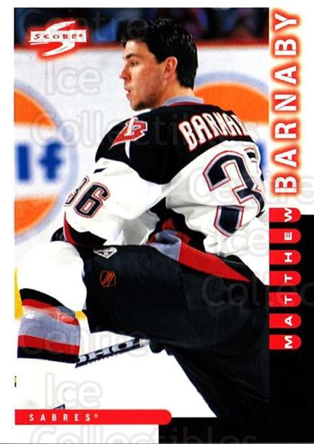 1997-98 Score #216 Matthew Barnaby<br/>5 In Stock - $1.00 each - <a href=https://centericecollectibles.foxycart.com/cart?name=1997-98%20Score%20%23216%20Matthew%20Barnaby...&quantity_max=5&price=$1.00&code=64294 class=foxycart> Buy it now! </a>