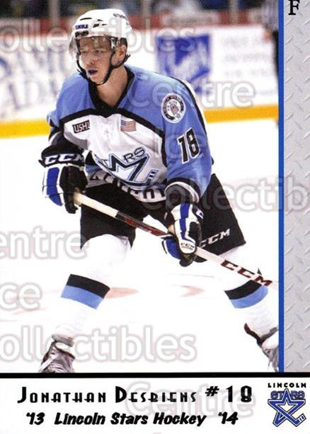 2013-14 Lincoln Stars #17 Jonathan Desbiens<br/>2 In Stock - $3.00 each - <a href=https://centericecollectibles.foxycart.com/cart?name=2013-14%20Lincoln%20Stars%20%2317%20Jonathan%20Desbie...&quantity_max=2&price=$3.00&code=643138 class=foxycart> Buy it now! </a>