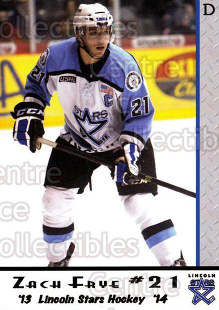 2013-14 Lincoln Stars #20 Zach Frye<br/>2 In Stock - $3.00 each - <a href=https://centericecollectibles.foxycart.com/cart?name=2013-14%20Lincoln%20Stars%20%2320%20Zach%20Frye...&quantity_max=2&price=$3.00&code=643141 class=foxycart> Buy it now! </a>