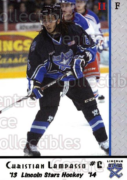 2013-14 Lincoln Stars #32 Christian Lampasso<br/>1 In Stock - $3.00 each - <a href=https://centericecollectibles.foxycart.com/cart?name=2013-14%20Lincoln%20Stars%20%2332%20Christian%20Lampa...&quantity_max=1&price=$3.00&code=643153 class=foxycart> Buy it now! </a>