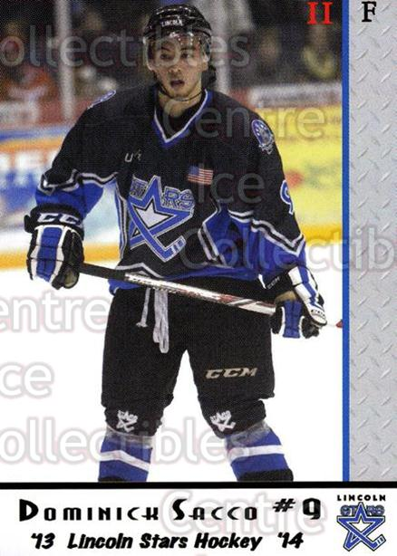 2013-14 Lincoln Stars #35 Dominick Sacco<br/>4 In Stock - $3.00 each - <a href=https://centericecollectibles.foxycart.com/cart?name=2013-14%20Lincoln%20Stars%20%2335%20Dominick%20Sacco...&quantity_max=4&price=$3.00&code=643156 class=foxycart> Buy it now! </a>