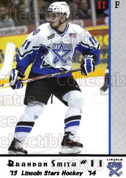 2013-14 Lincoln Stars #36 Brandon Smith (2)<br/>4 In Stock - $3.00 each - <a href=https://centericecollectibles.foxycart.com/cart?name=2013-14%20Lincoln%20Stars%20%2336%20Brandon%20Smith%20(...&quantity_max=4&price=$3.00&code=643157 class=foxycart> Buy it now! </a>