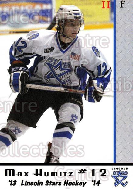 2013-14 Lincoln Stars #37 Max Humitz<br/>4 In Stock - $3.00 each - <a href=https://centericecollectibles.foxycart.com/cart?name=2013-14%20Lincoln%20Stars%20%2337%20Max%20Humitz...&quantity_max=4&price=$3.00&code=643158 class=foxycart> Buy it now! </a>