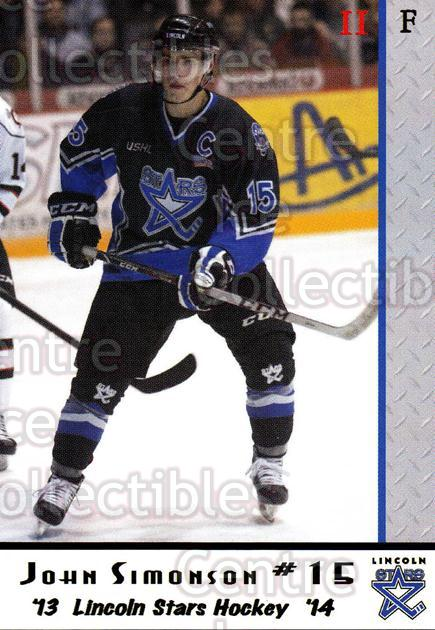 2013-14 Lincoln Stars #40 John Simonson<br/>4 In Stock - $3.00 each - <a href=https://centericecollectibles.foxycart.com/cart?name=2013-14%20Lincoln%20Stars%20%2340%20John%20Simonson...&quantity_max=4&price=$3.00&code=643161 class=foxycart> Buy it now! </a>