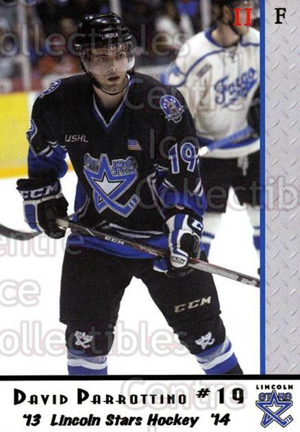 2013-14 Lincoln Stars #44 David Parrottino<br/>3 In Stock - $3.00 each - <a href=https://centericecollectibles.foxycart.com/cart?name=2013-14%20Lincoln%20Stars%20%2344%20David%20Parrottin...&quantity_max=3&price=$3.00&code=643165 class=foxycart> Buy it now! </a>