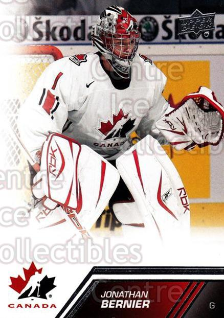 2013-14 Upper Deck Team Canada #136 Jonathan Bernier<br/>2 In Stock - $2.00 each - <a href=https://centericecollectibles.foxycart.com/cart?name=2013-14%20Upper%20Deck%20Team%20Canada%20%23136%20Jonathan%20Bernie...&quantity_max=2&price=$2.00&code=643521 class=foxycart> Buy it now! </a>