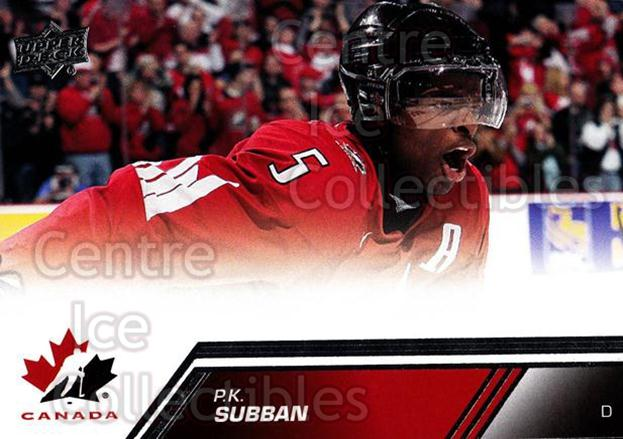 2013-14 Upper Deck Team Canada #168 PK Subban<br/>2 In Stock - $3.00 each - <a href=https://centericecollectibles.foxycart.com/cart?name=2013-14%20Upper%20Deck%20Team%20Canada%20%23168%20PK%20Subban...&quantity_max=2&price=$3.00&code=643553 class=foxycart> Buy it now! </a>